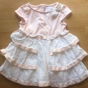 Eyelet and peach cotton dress 12-18m